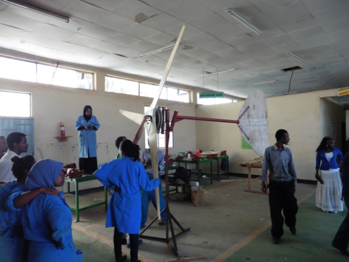 The wind turbine assembled in the workshop