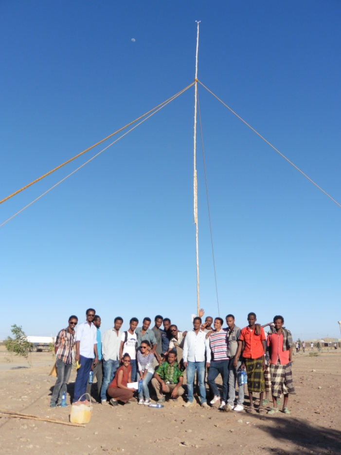 Anemometer mast and data logger installed in Semara