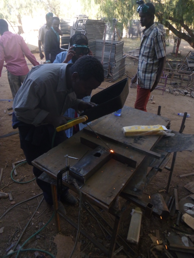 Welding the steel frame